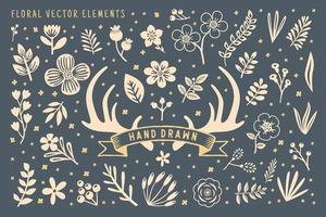 elemento de vector floral dibujado a mano