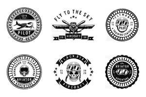 conjunto de diseño de logotipo vintage aircraf vector