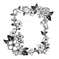 magnífico marco floral con espacio en blanco vector