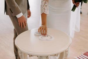 wedding rings in wood heart-shaped box photo