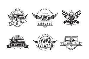 conjunto de diseño de logotipo de aviones antiguos vector