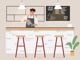 Young male barista making coffee for customer illustration vector