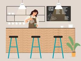 Young female barista making coffee for customer illustration vector