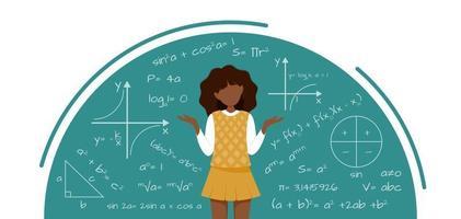 illustration of school girl in school uniform vector