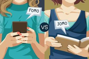 Fomo and Jomo concept. fear of missing out, joy of missing out vector
