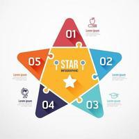 Star Education shape jigsaw banner. Concept Design infographic Template vector illustration