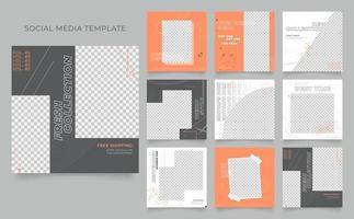 social media template banner for blog or business promotion. fully editable square post frame organic sale poster. grunge grey orange white vector background