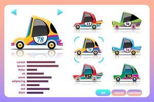 Car racing game in display menu juning for upgrade performance car of game player. vector
