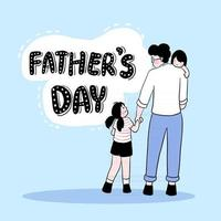 Happy Father's Day Father holds the man on his shoulder and leads his daughter to the Father's Day festival. vector