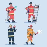 Conjunto de bomberos en varios lugares de extinción de incendios con equipo. vector