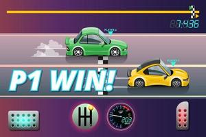 Winner in speed car racing goal in checkered board and first sport checkered flag vector