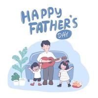 Happy Father's Day Father playing guitar and singing with son and daughter on fathers day vector