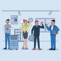 Business company people. Office team, multicultural collective workers group and businessman community vector illustration