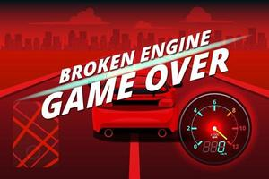 Word in end of sport game racing car. You lose, fail, foul, wrong in game and restart game to new game. vector