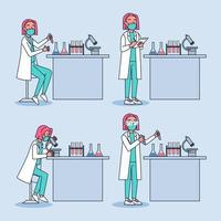 Scientist Lab with Man Character in researching lab researchers working with lab equipment. vector