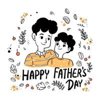 Happy Father's Day Dad and Son wear orange color t-shirt isolated in floral frame on white background. vector