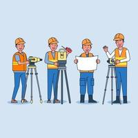 Foreman plans construction work with a team of surveyors with multiple theodolites. vector