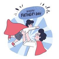 Happy Father's Day Dad is every boy's superhero. Father and son wearing white shirt, gray pants and red shawl on Father's Day. vector