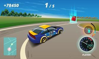 In game competition continue player used high speed car for win in racing game. competition e-sport car racing. vector