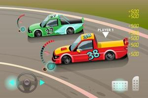 Burnout car, game sport car drift for point in game. Vector illustration in 3d style design