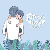 Happy Father's Day Father holds the son close to his chest. vector