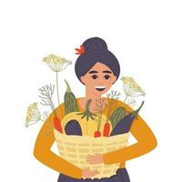 Happy woman with a basket of autumn vegetables vector