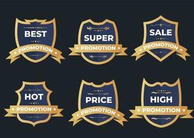 Set of retro vintage sale logo badges on a dark background vector