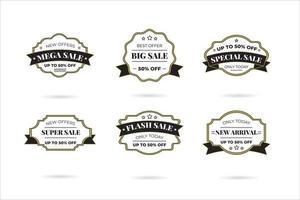 Set of retro vintage sale logo badges on a transparent background. vector