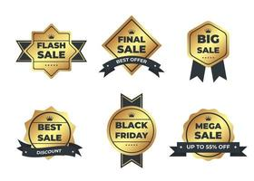 Luxury gold badges and labels premium quality product vector