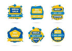 Sale banners and price tag labels, selling card and discount sticker. Best offer vector templates on a transparent background