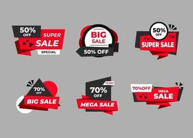 Sale banners and price tag labels, selling card and discount sticker. Best offer vector templates on a gray background