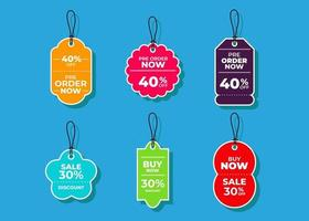 Sale horizontal labels and price tag, selling card and discount sticker. Best offer vector templates on a light background