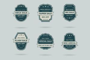 Set of retro vintage sale logo badges on a gray background vector