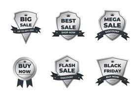 Set of silver retro vintage sale logo badges on a gray background vector