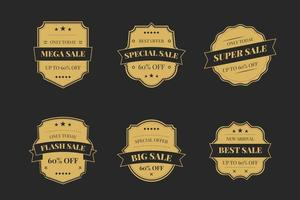 Luxury gold badges and labels premium quality product on a dark background vector