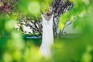 perfect white wedding dress on the wedding day photo