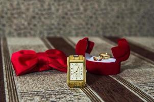 watch, butterfly, wedding rings photo