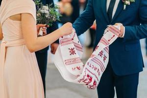 wedding embroidered towel as a family heirloom for the bride and groom photo