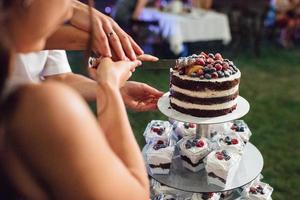 wedding cake at the wedding of the newlyweds photo