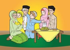 Indonesian muslim family gathering vector