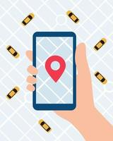 Online Taxi service app. Hand with smartphone and taxi application on city map background. Vector illustration in flat style