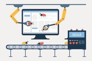 pruebas automatizadas. concepto de probador automático de software. depuración y garantía de calidad. computadora, transportador para insectos, brazos robóticos y sistema de seguimiento de defectos vector