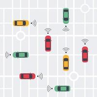 Driverless smart Car, autonomous vehicle, auto with autopilot with wireless waves and city map background. Top view. Vector illustration in flat style