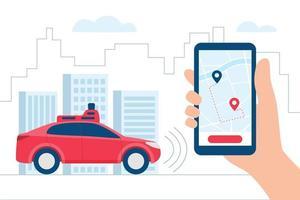 Driverless Car, autonomous vehicle, auto with autopilot. Vector illustration in flat style