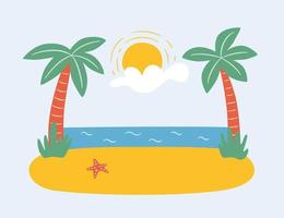 Palm trees on the beach by the sea. Summer paradise in tropics. Hand drawn vector illustration