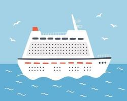 A large cruise ship sails on the sea. Travel on an ocean liner. Hand drawn vector illustration