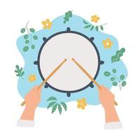 Hand drawn drum and hands holding drumsticks. Top view. Vector concept in flat and cartoon style