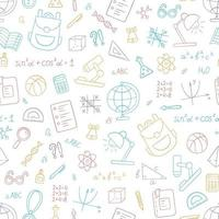 School colorful seamless pattern in doodle style on white background. Vector illustration