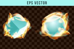 Green fire and smoke effect eps vector flame firing efect pyro