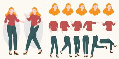 Pretty young woman constructor in flat style. Parts of body legs and arms , face emotions. Vector cartoon girl character